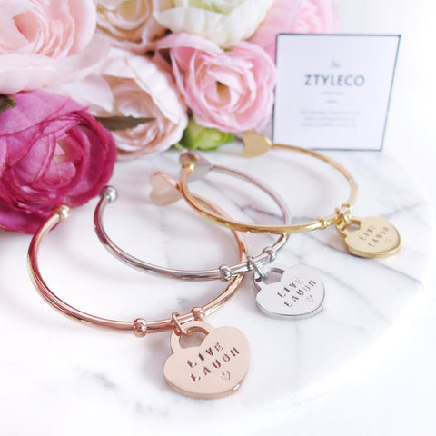 Handstamp Heart Tag Cuff Bangles