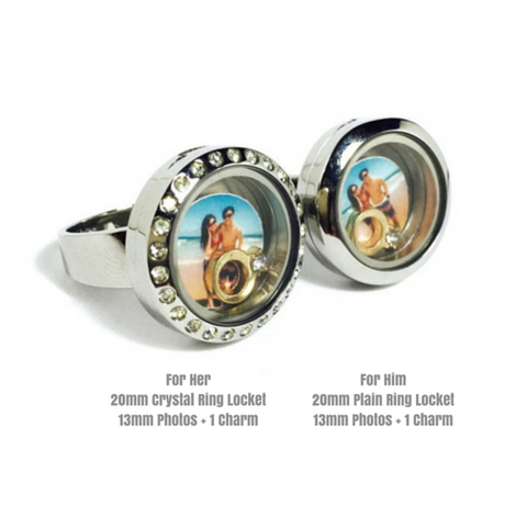 Couple Silver Round Ring Locket Set
