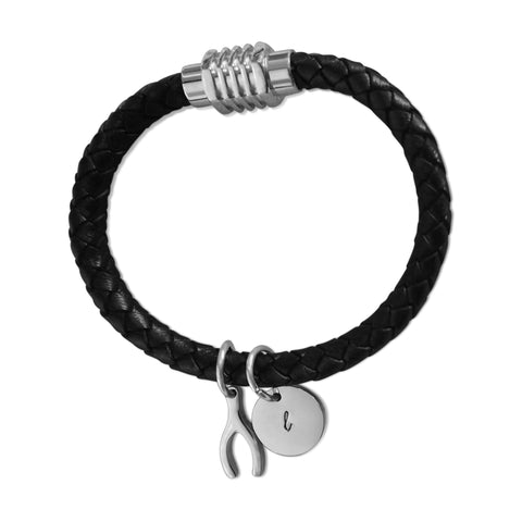 Wishbone Charm Leather Bracelet