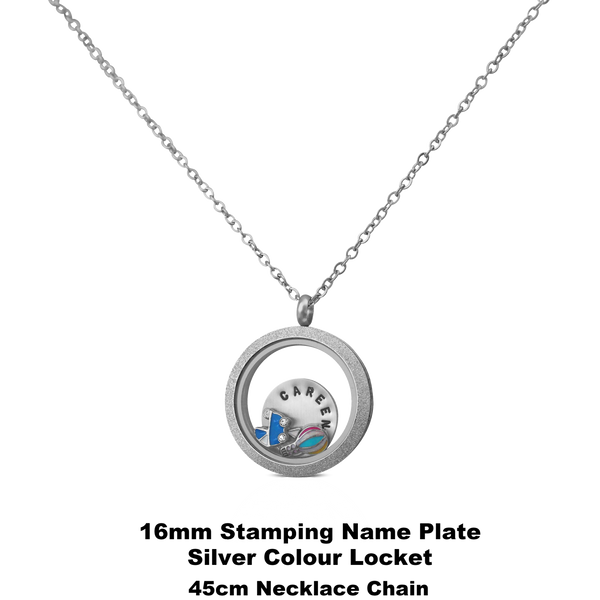 30mm Stardust Photo Locket Keychain /Necklace Set