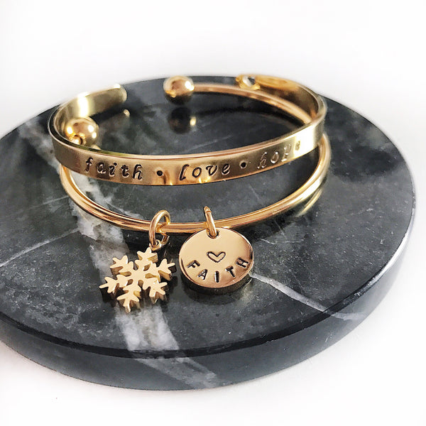 [BUNDLE] SNOWFLAKE CHARM BANGLE + SAY IT ON YOUR WRIST BANGLE