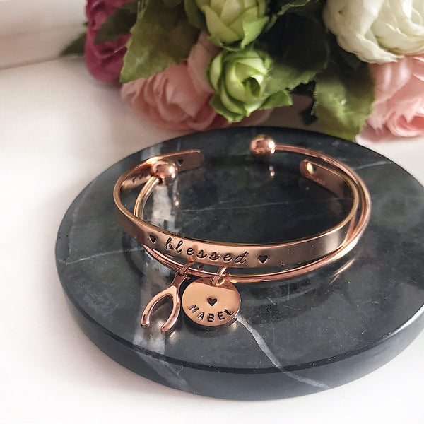 [BUNDLE] WISHBONE CHARM BANGLE + SAY IT ON YOUR WRIST BANGLE