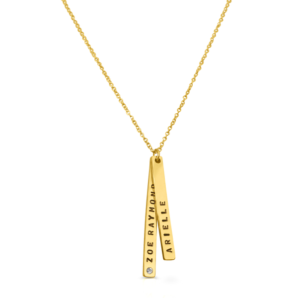 Skinny Vertical Stacked Pendant Necklace