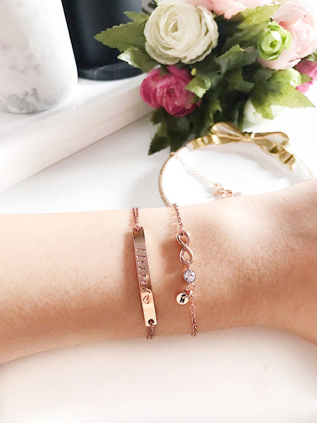 [BUNDLE] Horizonal Bar + Infinity Charm with CZ Stone Bracelet