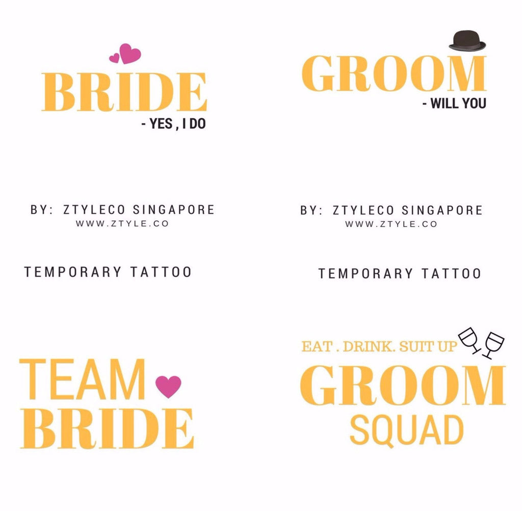 Team Wedding Temporary Tattoo