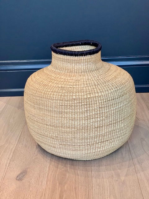 Water Basket - Straw with Black Rim