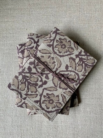 Block Printed Notebook - Taupe & Fig
