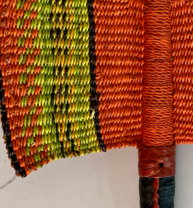 Woven Straw Fan - Orange & Lime
