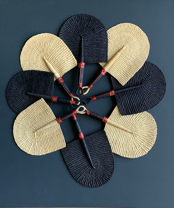 Woven Straw Fan - Black