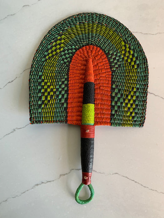 Woven Fan - Lime and Red
