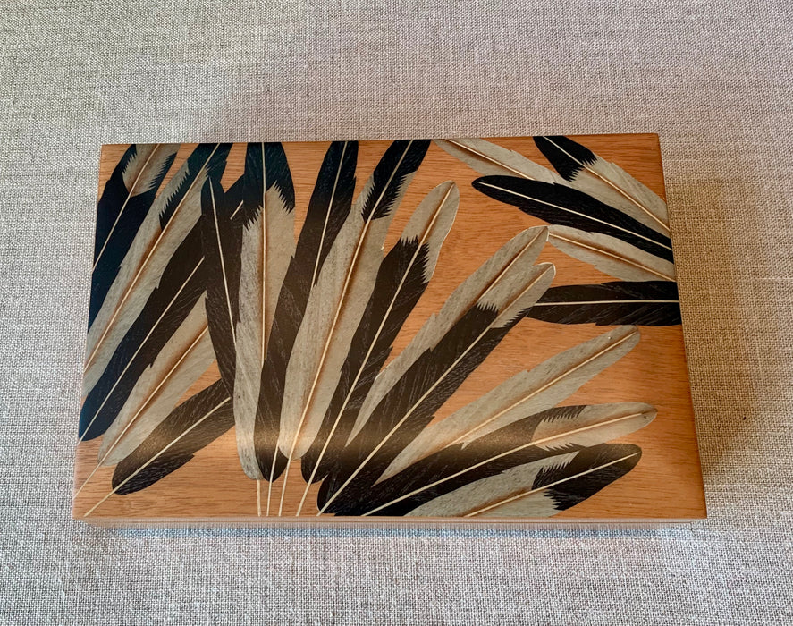 Marquetry Inlaid Boxes - Large - Blonde with Black Feathers