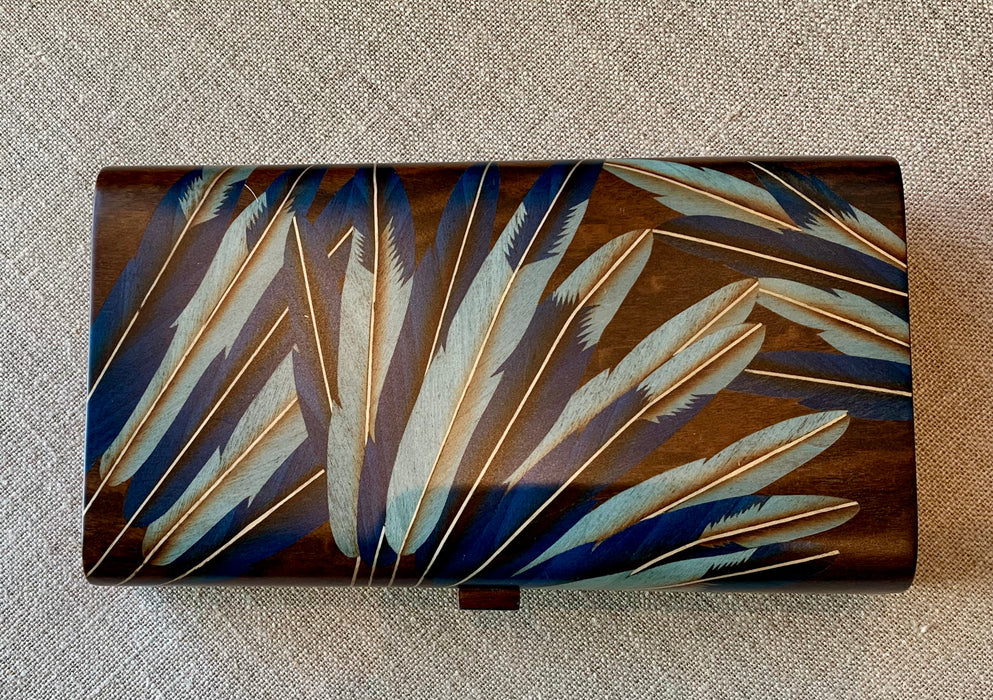 Marquetry Inlaid Boxes - Small - Dark Brown with Blue Feathers
