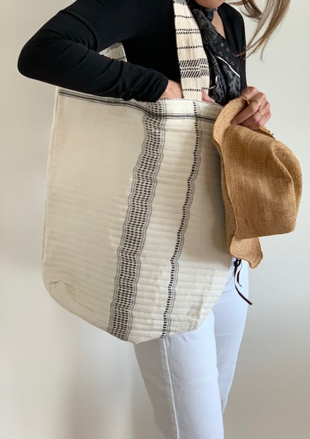 Beach or Market Bag - Ivory with Black Vertical Detail