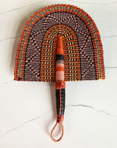 Woven Straw Fan - Rust, Pink, Black & Straw