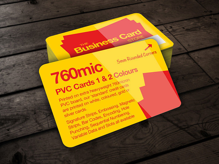 Coloured plastic business cards the business card store bristol coloured plastic business cards 760micron pvc credit cards 1 2 colours reheart Image collections