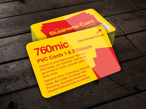 760micron PVC Credit Cards 1 & 2 Colours