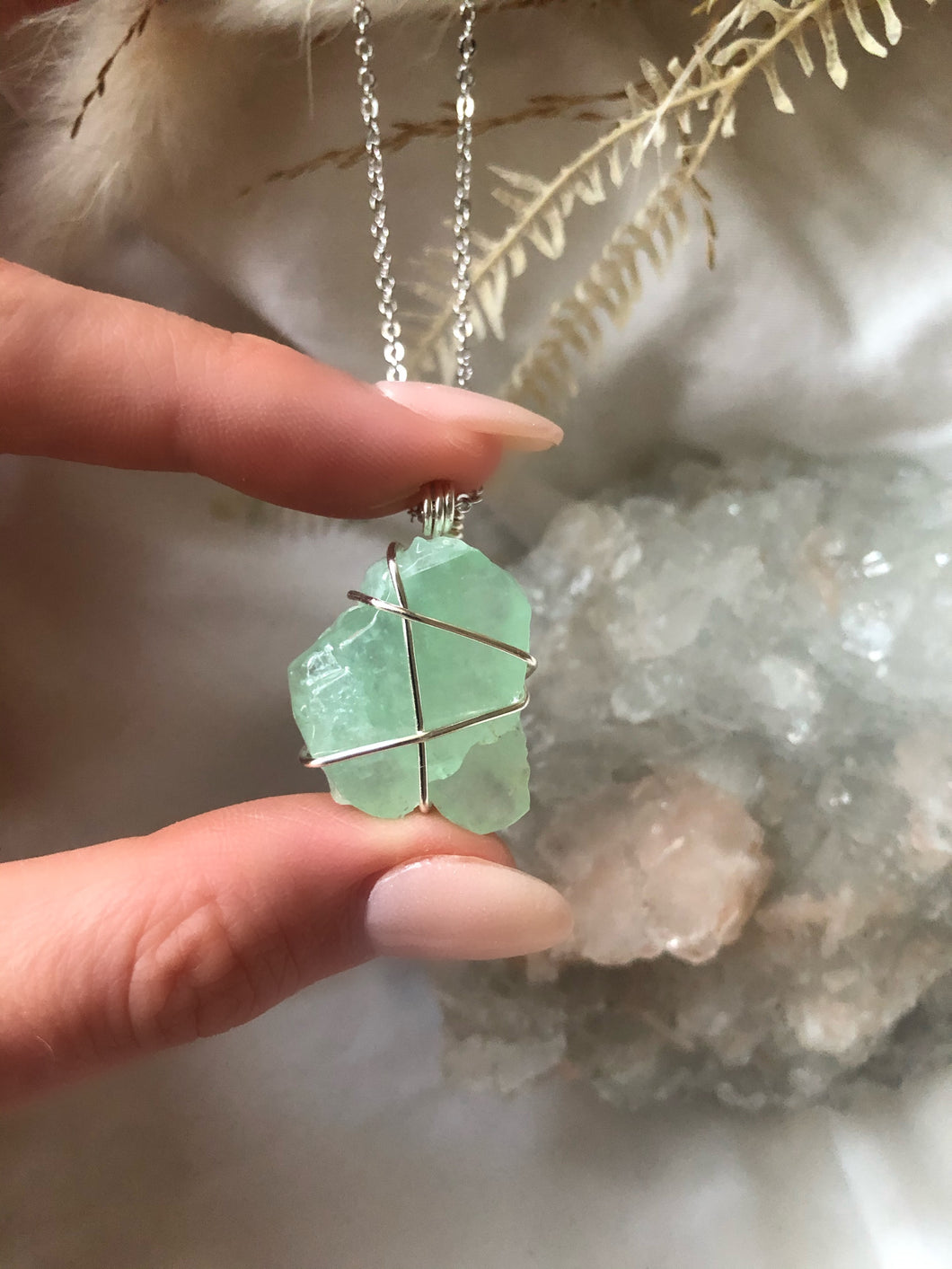 GREEN CALCITE & SILVER (18 INCH)