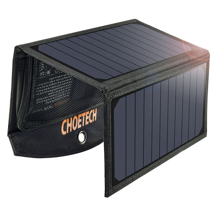 Choetec 2-port 19W Solcellepanel, Sort