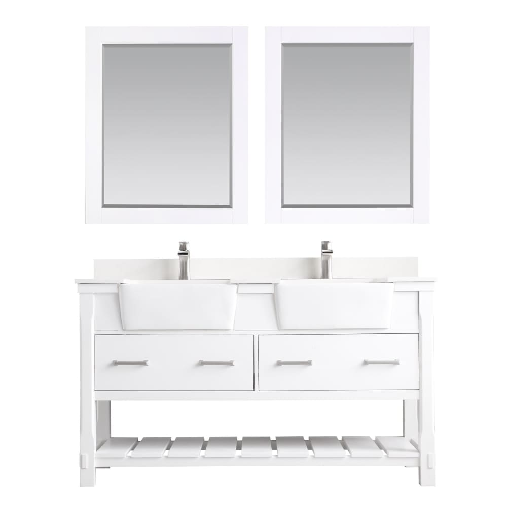 Double Vanity Altair 537060-WH-AW Georgia 60 Bathroom Set in