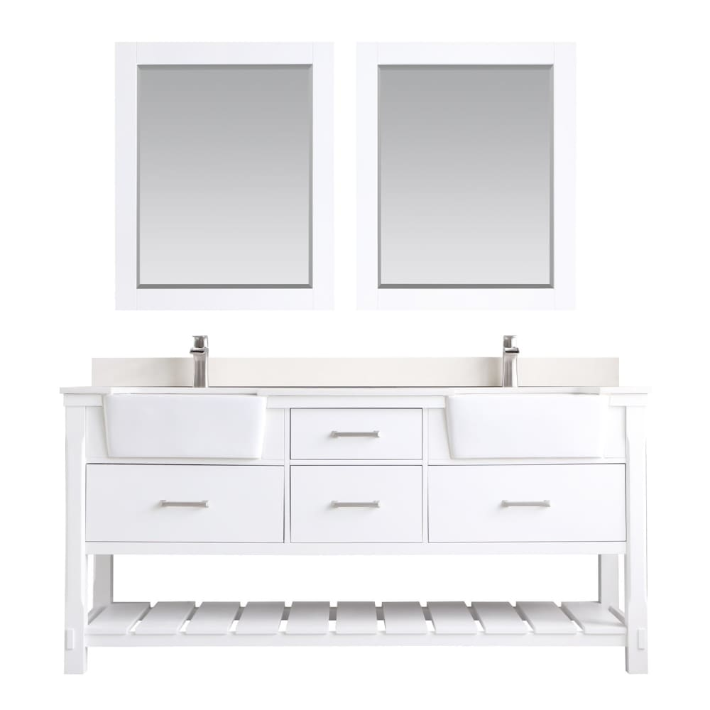 Double Vanity Altair 537072-WH-AW Georgia 72 Bathroom Set in