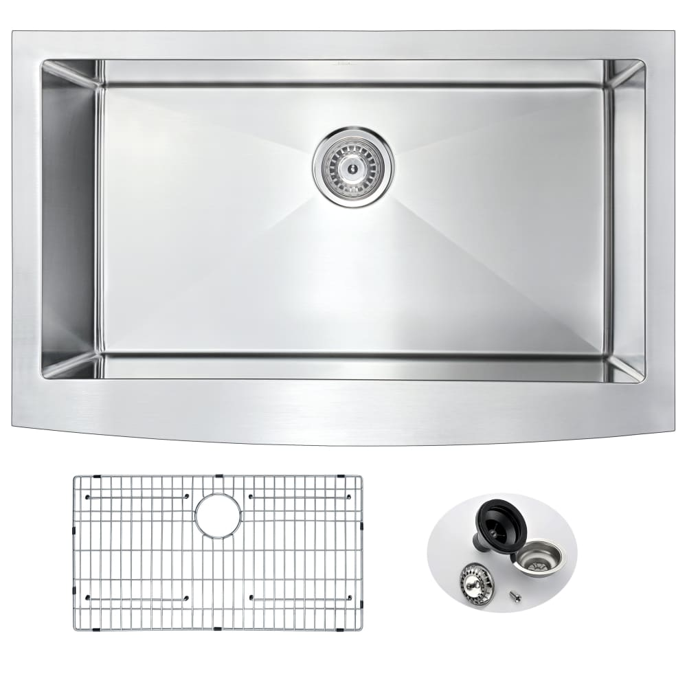 Farmhouse Sink Anzzi K-AZ3320-4A ANZZI Elysian 33 Brushed