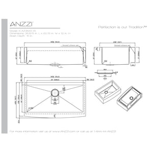 Farmhouse Sink Anzzi K-AZ3620-3AS ANZZI Elysian 36 Stainless
