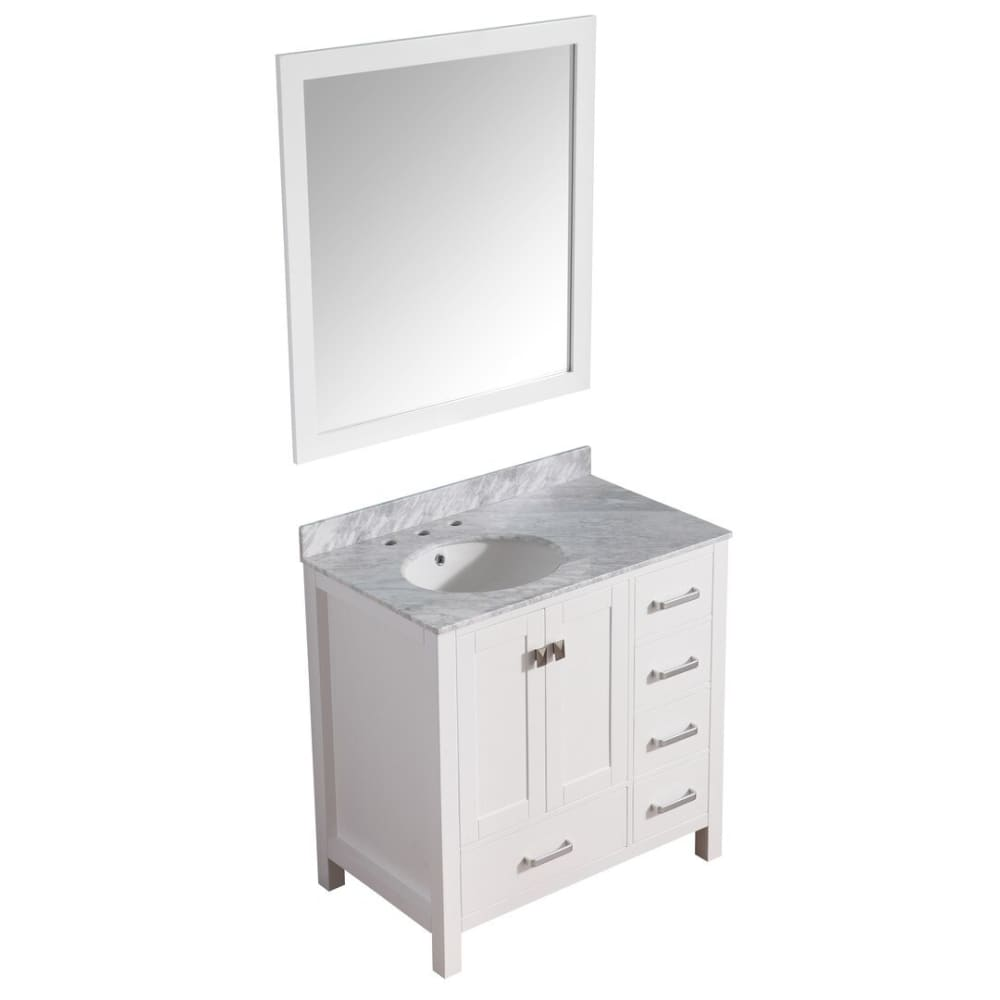 Anzzi V-CHG011-36 Chateau 36 in. W x 35 in. H Bathroom Bath Vanity Set in Rich White