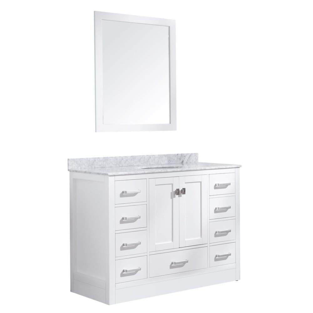 Anzzi V-CHG011-48-S Chateau 48 in. W x 36 in. H Bath Vanity in Rich White with Carrara White Marble Vanity Top in Carrara White with White Basin and Mirror