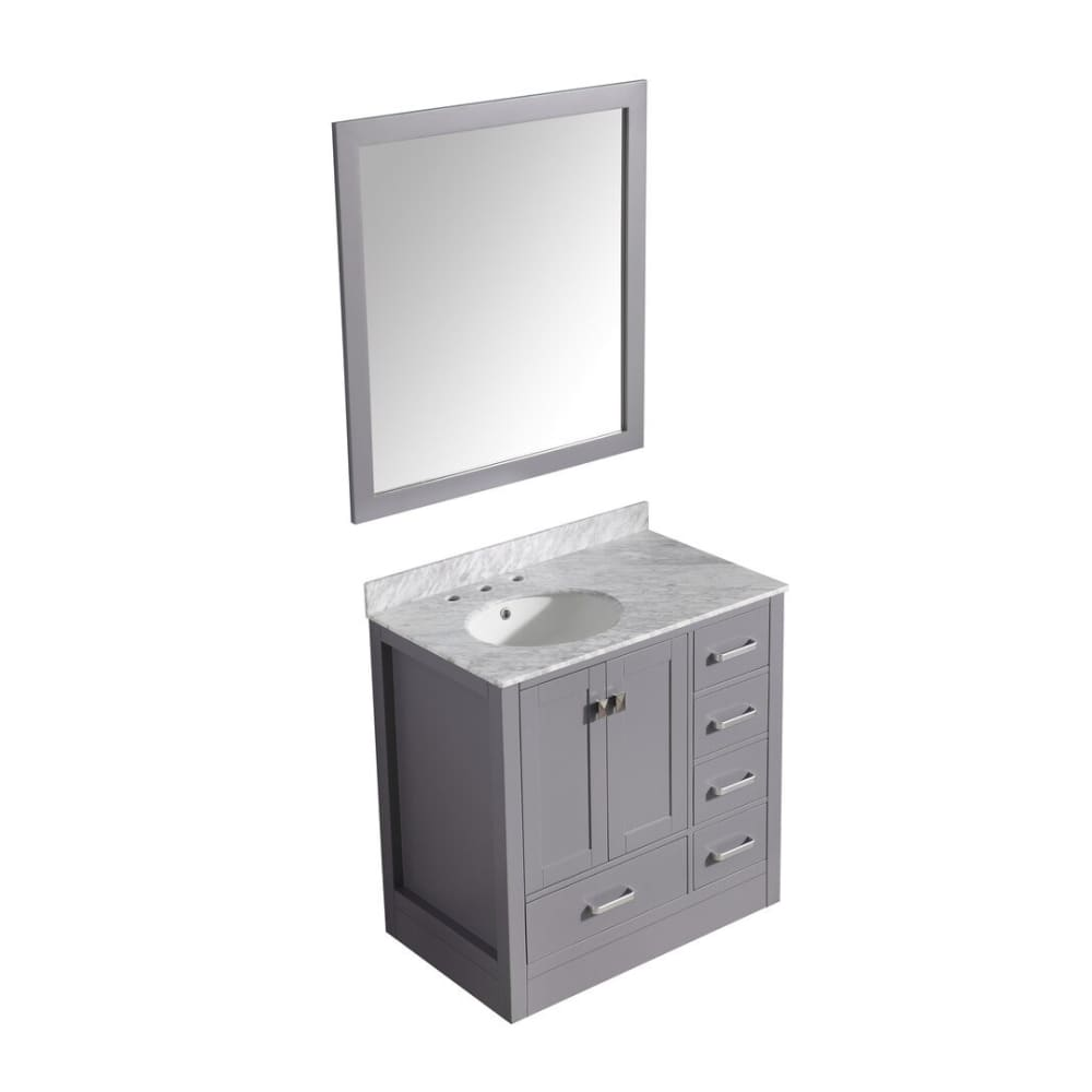 Anzzi V-CHG013-36-S Chateau 36 in. W x 35 in. H Bath Vanity in Rich Gray with Carrara White Marble Vanity Top in Carrara White with White Basin and Mirror