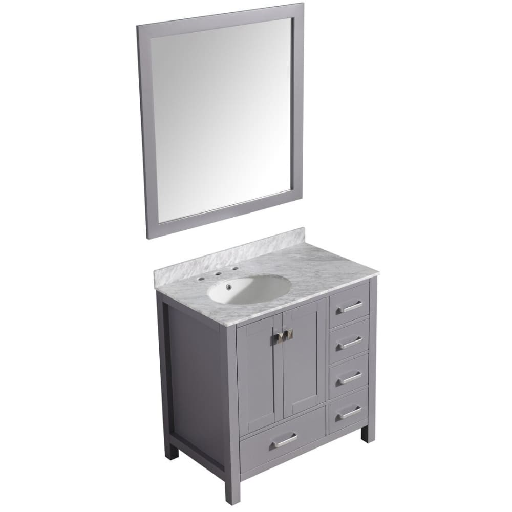 Anzzi V-CHG013-36 Chateau 36 in. W x 35 in. H Bathroom Bath Vanity Set in Rich Gray