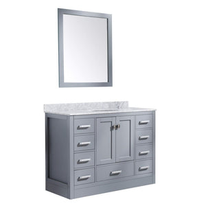 Anzzi V-CHG013-48-S Chateau 48 in. W x 36 in. H Bath Vanity in Rich Gray with Carrara White Marble Vanity Top in Carrara White with White Basin and Mirror