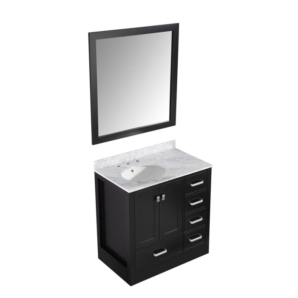 Anzzi V-CHG015-36-S Chateau 36 in. W x 35 in. H Bath Vanity in Rich Black with Carrara White Marble Vanity Top in Carrara White with White Basin and Mirror