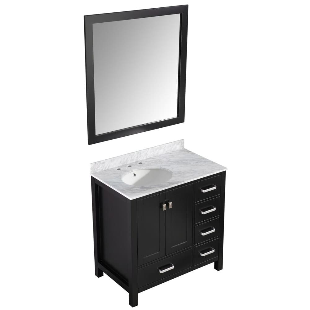 Anzzi V-CHG015-36 Chateau 36 in. W x 35 in. H Bathroom Bath Vanity Set in Rich Black