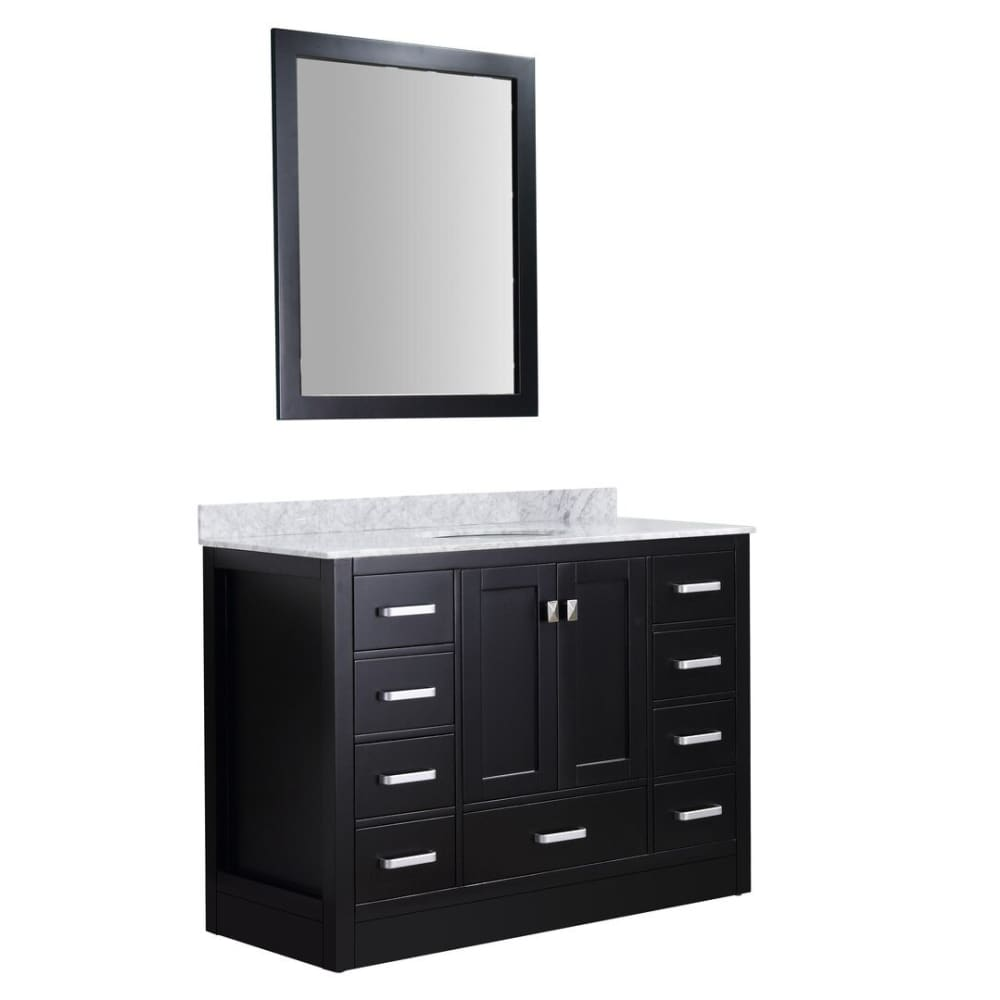 Anzzi V-CHG015-48-S Chateau 48 in. W x 36 in. H Bath Vanity in Rich Black with Carrara White Marble Vanity Top in Carrara White with White Basin and Mirror