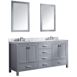Anzzi V-CHN013-72 Chateau 72 in. W x 36 in. H Bathroom Bath Vanity Set in Rich Gray