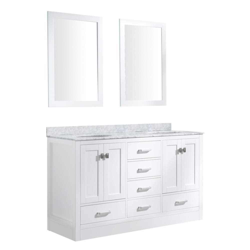 Anzzi V-CHO011-60-S Chateau 60 in. W x 36 in. H Bath Vanity in Rich White with Carrara White Marble Vanity Top in Carrara White with White Basins and Mirrors