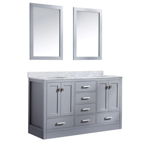 Anzzi V-CHO013-60-S Chateau 60 in. W x 36 in. H Bath Vanity in Rich Gray with Carrara White Marble Vanity Top in Carrara White with White Basins and Mirrors