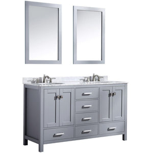 Anzzi V-CHO013-60 Chateau 60 in. W x 36 in. H Bathroom Bath Vanity Set in Rich Gray