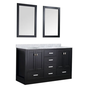 Anzzi V-CHO015-60-S Chateau 60 in. W x 36 in. H Bath Vanity in Rich Black with Carrara White Marble Vanity Top in Carrara White with White Basins and Mirrors