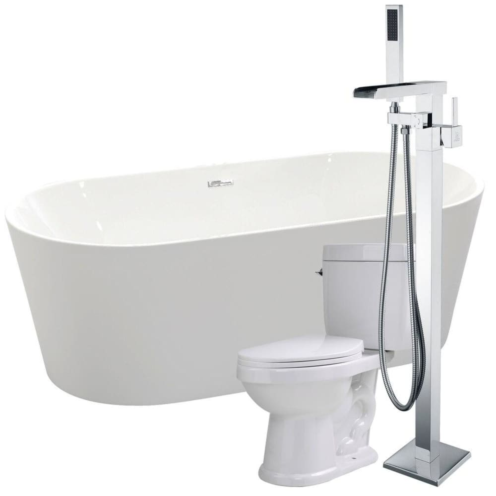 Anzzi FTAZ098-59C-65 Chand 67 in. Acrylic Flatbottom Non-Whirlpool Bathtub with Union Faucet and Talos 1.6 GPF Toilet