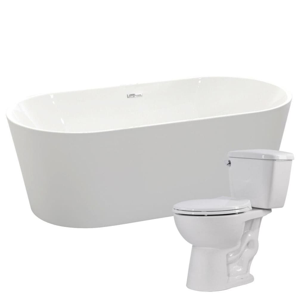 Anzzi FTAZ098-T063 Chand 67 in. Acrylic Soaking Bathtub with Cavalier 2-piece 1.28 GPF Single Flush Toilet