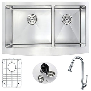Anzzi K36203A-041 Elysian Farmhouse 36 in. Double Bowl Kitchen Sink with Singer Faucet in Polished Chrome