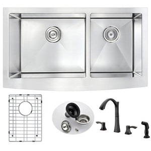 Anzzi KAZ3320-032O Elysian Farmhouse 33 in. Double Bowl Kitchen Sink with Soave Faucet in Oil Rubbed Bronze