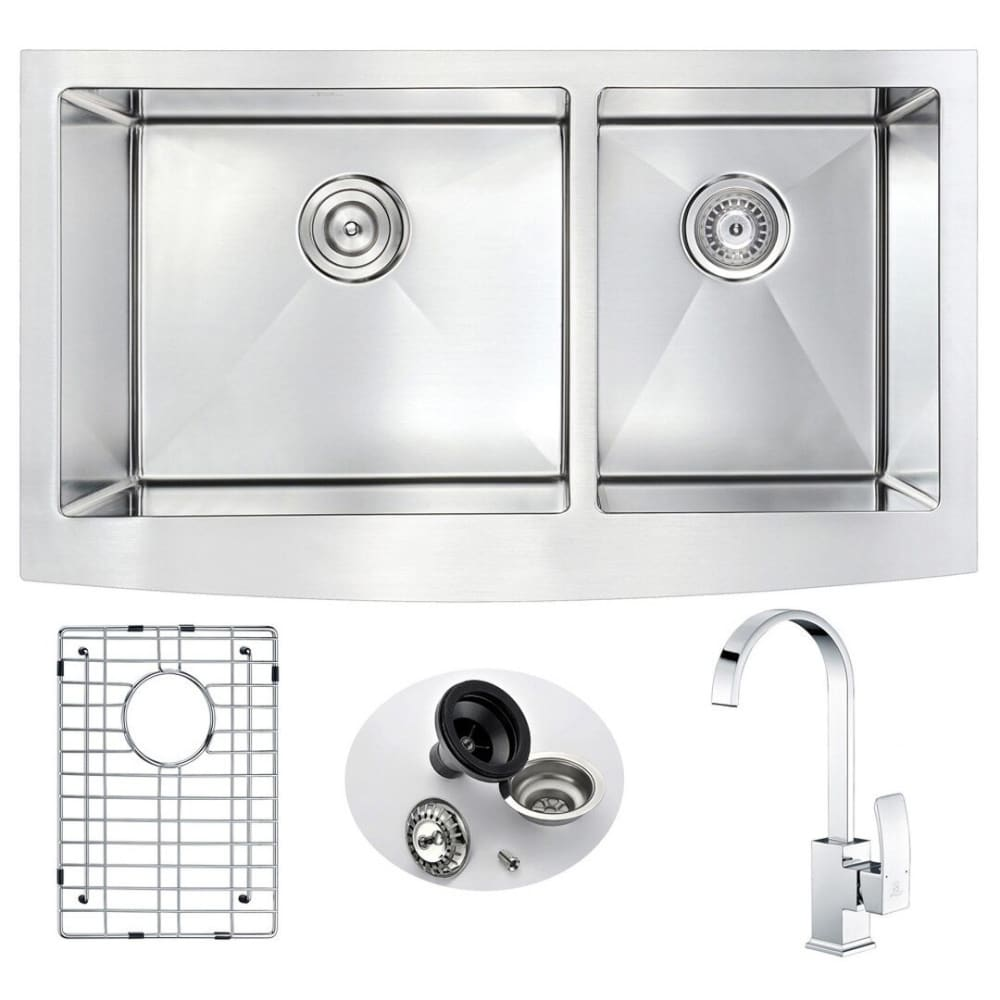 Anzzi KAZ3320-035 Elysian Farmhouse 33 in. Double Bowl Kitchen Sink with Opus Faucet in Polished Chrome