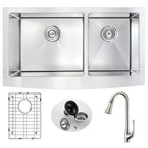 Anzzi KAZ3320-042 Elysian Farmhouse 33 in. Double Bowl Kitchen Sink with Singer Faucet in Brushed Nickel