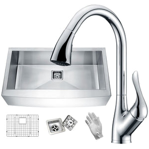 Anzzi KAZ33201AS-031 Elysian Farmhouse 32 in. Single Bowl Kitchen Sink with Faucet in Polished Chrome