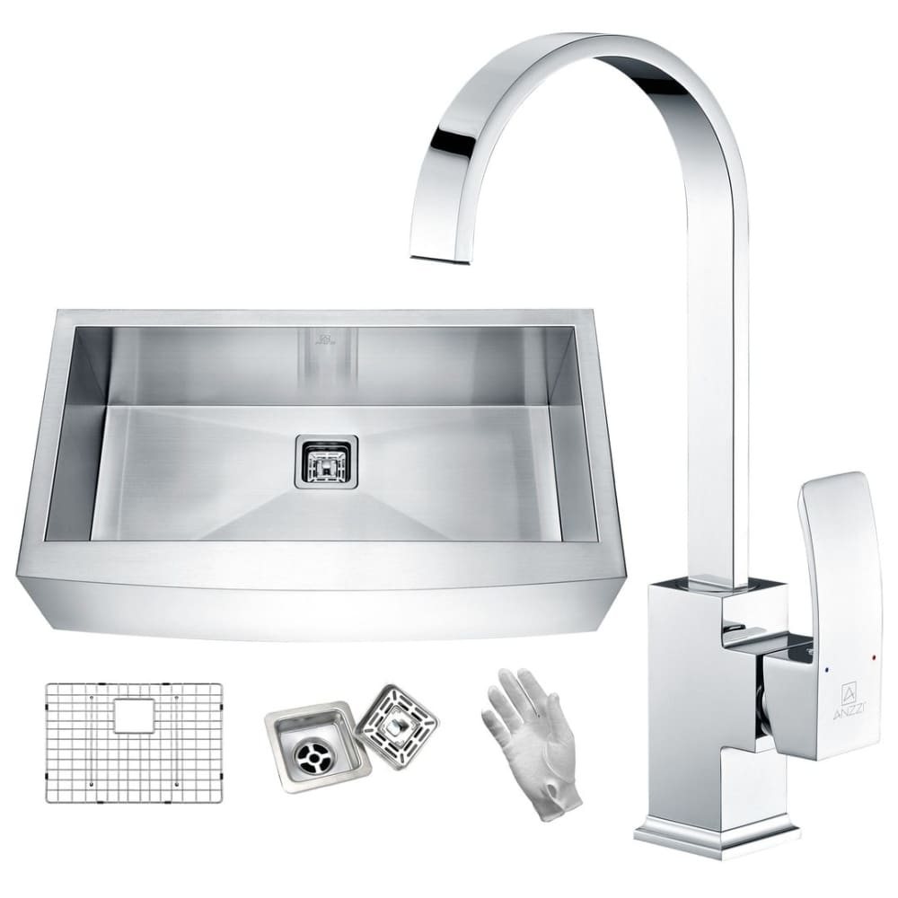 Anzzi KAZ33201AS-035 Elysian Farmhouse 32 in. Single Bowl Kitchen Sink with Faucet in Polished Chrome