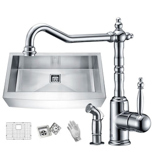Anzzi KAZ33201AS-037 Elysian Farmhouse 32 in. Single Bowl Kitchen Sink with Faucet in Polished Chrome