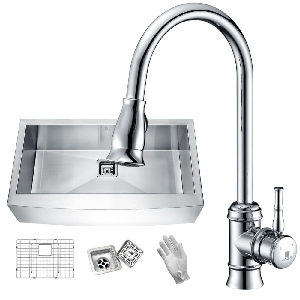 Anzzi KAZ33201AS-044 Elysian Farmhouse 32 in. Single Bowl Kitchen Sink with Faucet in Polished Chrome