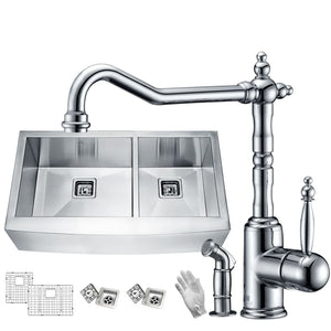 Anzzi KAZ33204AS-037 Elysian Farmhouse 33 in. 60/40 Double Bowl Kitchen Sink with Faucet in Polished Chrome